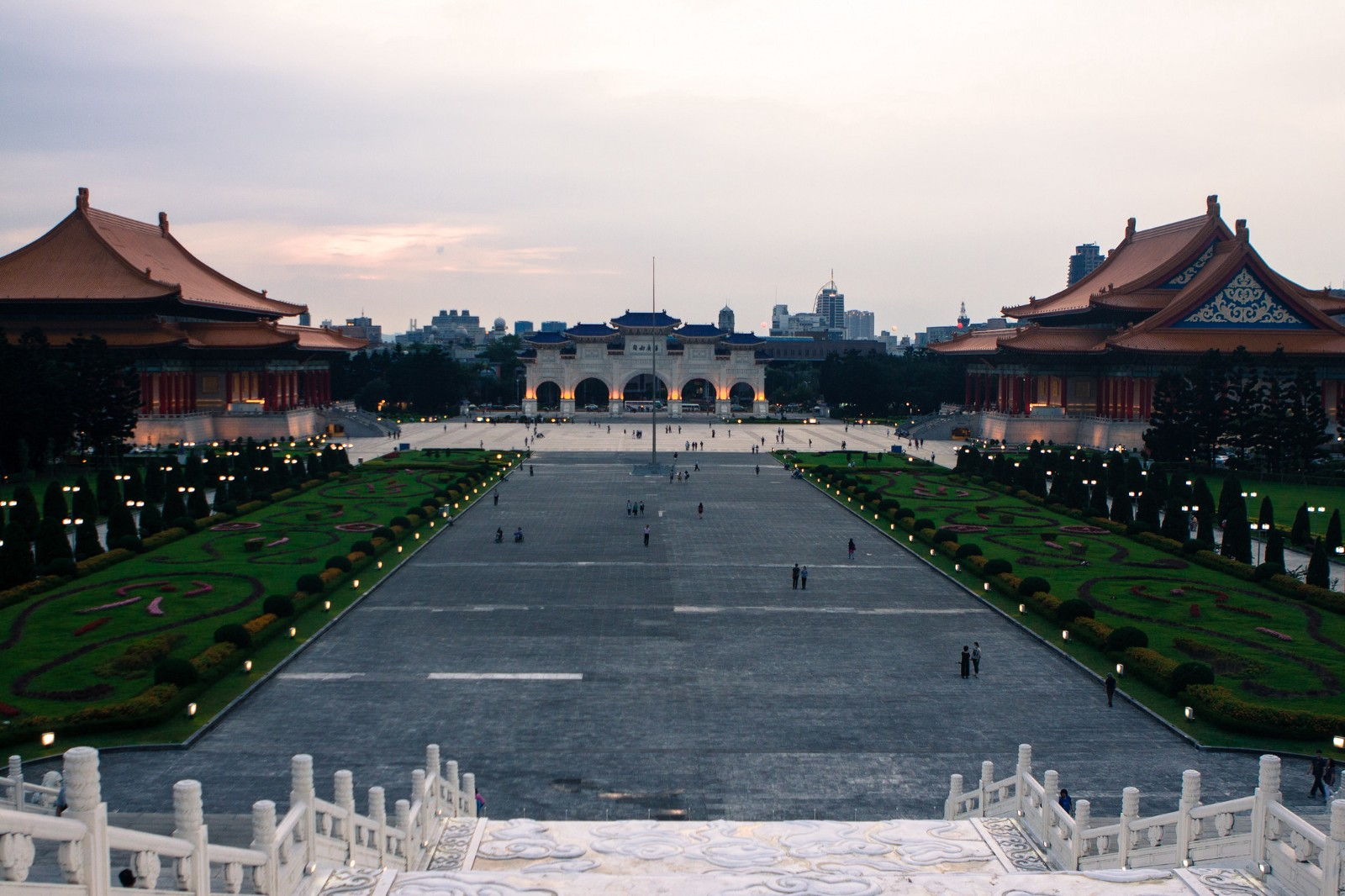 Wide angle of Chang Kai Shiek Memorial Hall in Taipei in the evening