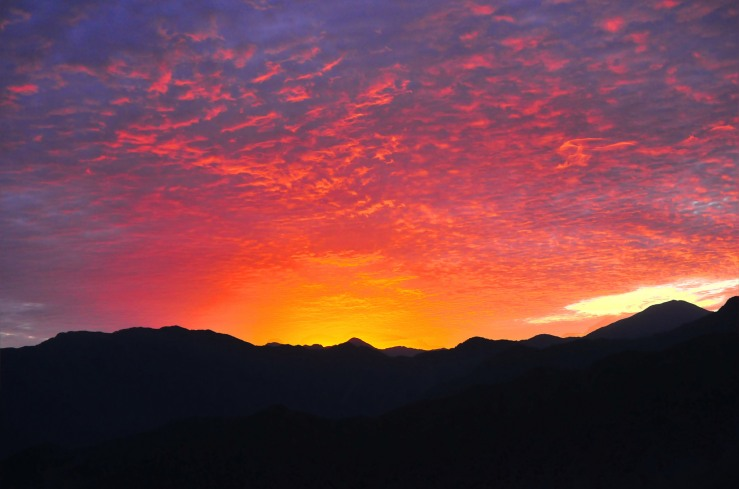 Beautiful sun set at Alishan Scenic Area with orange and pink hues