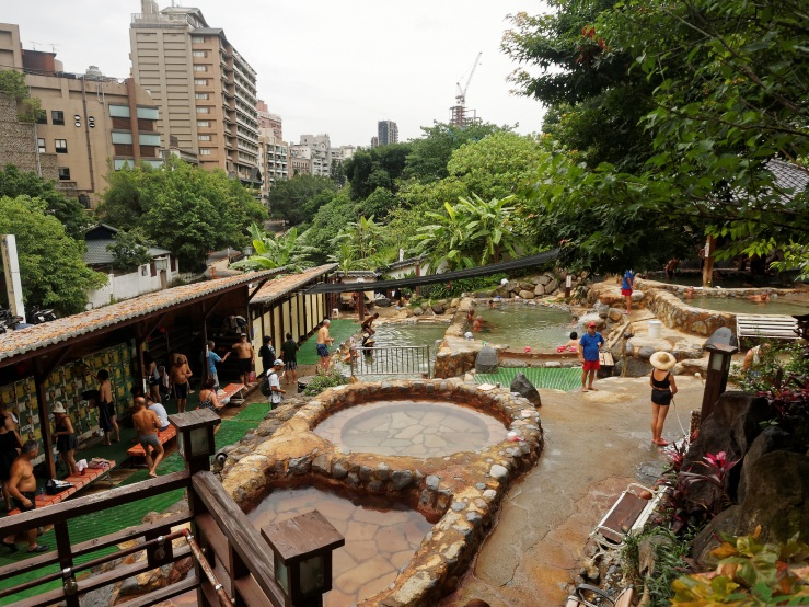 Visitors at the public Beitou Hot Spring Pool