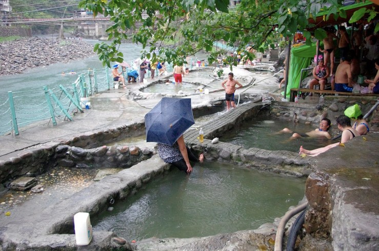 Locals soaking and enjoying their time at Wulai Hot Spring