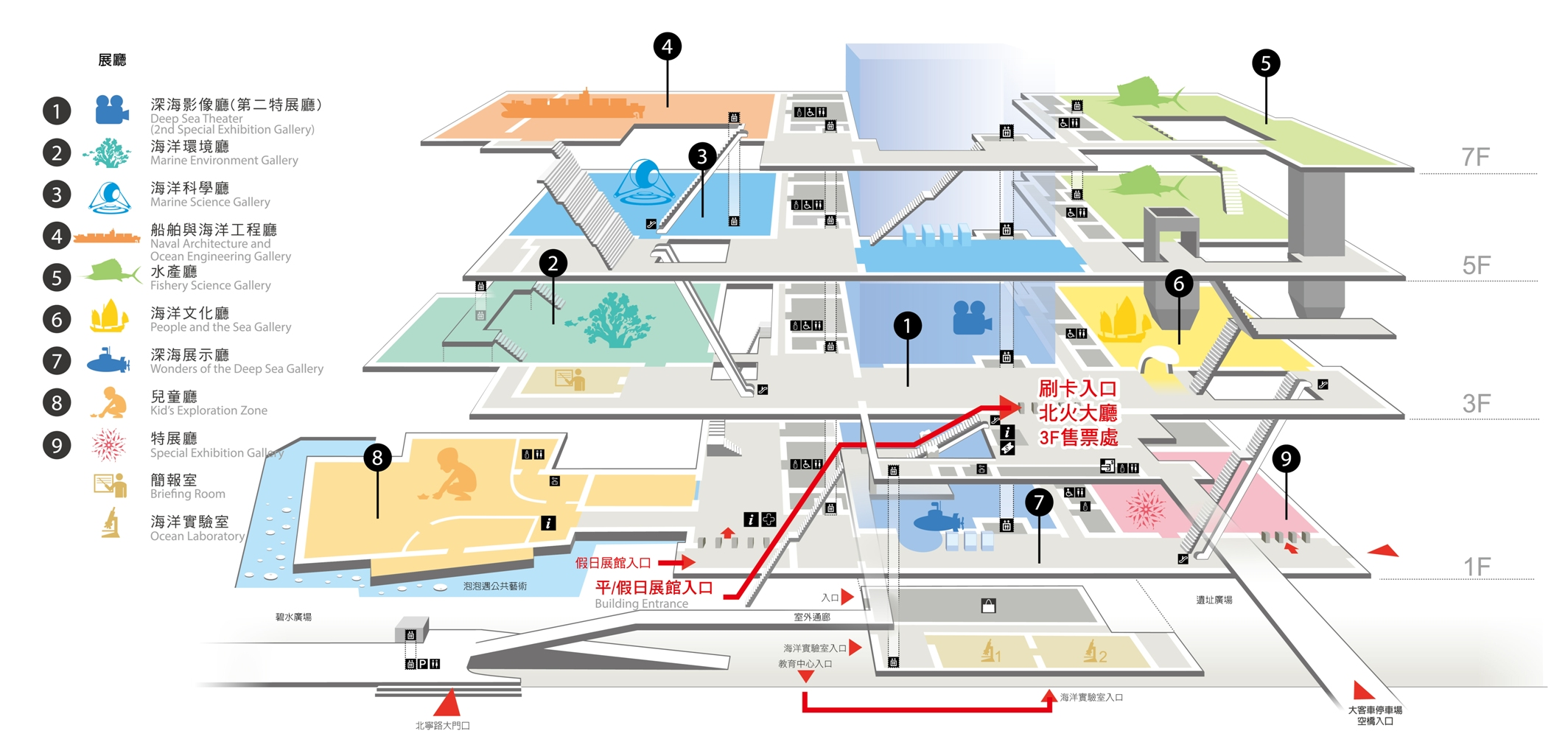 Floor layout of the National Museum of Marine Science and Technology