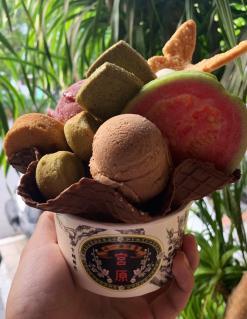 Amazing ice cream at Miyahara Ice Cream shop in Taichung