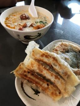Traditional Taiwanese breakfast - Egg rolls and Salty Beancurd