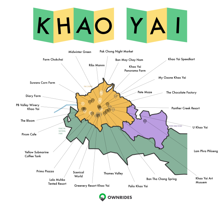 Map of Khao Yai attractions
